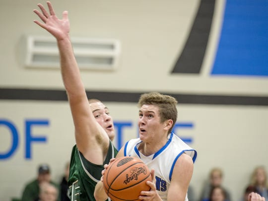 McConnellsburg's Landon Richards, right, came on strong