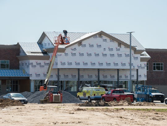 View of construction of one of the new buildings at
