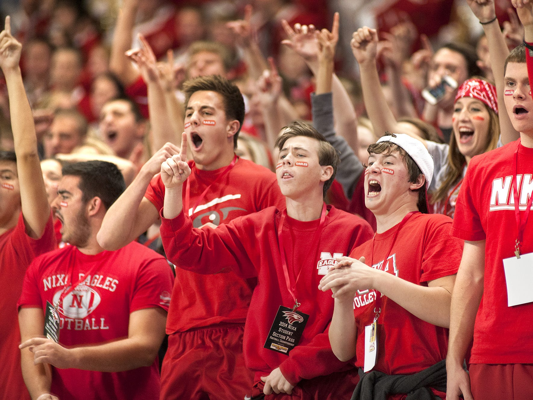 Nixa High School football fans cheer on the Eagles during the 2014 MSHSAA Class 5 football championship game at the Edward Jones Dome in St. Louis.