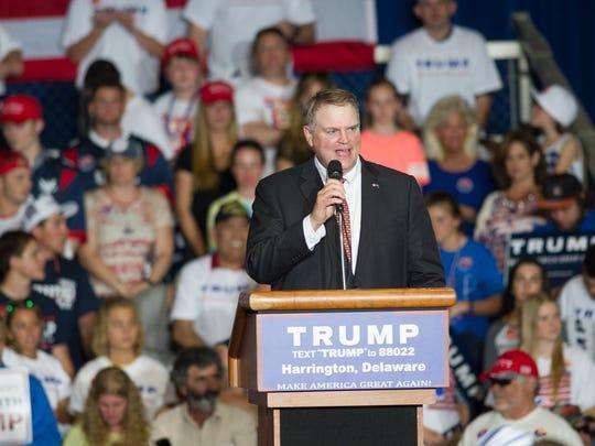 Senator Colin Bonini, R-Dover South, speaks before Donald Trump's arrive at his rally at the Delaware State Fair in Harrington.