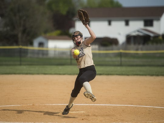 Delone Catholic pitcher Cassie Rickrode delivers to the plate against Littlestown at Delone Catholic High School Monday.