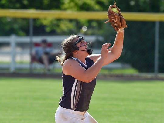 Chambersburg's Leah Hunt catches a fly ball during a District 3 Class AAAA softball semifinal against Lower Dauphin on May 31, 2016. Chambersburg defeated Lower Dauphin 3-0.
