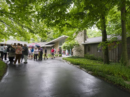 """Dohrenwend House: Owned by Chris and Amy Scott, 11607 Eden Glen Drive. Enthusiasts and curious alike toured five homes Saturday, June 4, 2016, that made up the Mid-Century Modern Home Tour """"Back to the Future"""" in Carmel. The tour was hosted by Indiana Modern and Indiana Landmarks."""