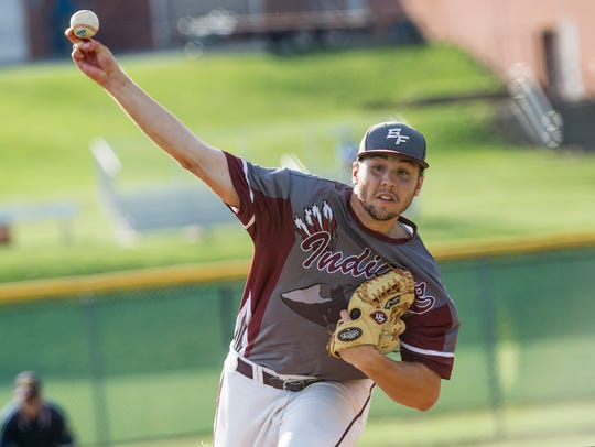 Trent Rider pitches for Southern Fulton during a PIAA