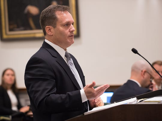 Sean Lugg addresses the Delaware Supreme Court in the Rauf vs State of Delaware.  The court is weighing whether Delaware's death penalty statute is constitutional in light of a U.S. Supreme Court ruling that struck down part of Florida's death penalty sentencing scheme.