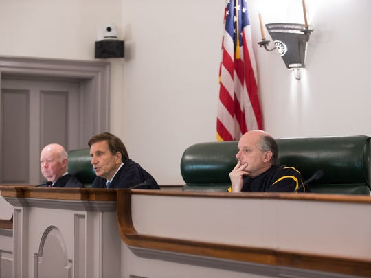 From left, Justice James T. Vaughn Jr., Justice Randy J. Holland and Chief Justice Leo E. Strine Jr. listen to oral arguments over the death penalty on June 15. Attorney General Matt Denn will not appeal a the court ruling that found the state's death penalty law unconstitutional.