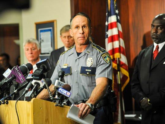 Police Chief Carl Dabadie Jr. speaking to media at