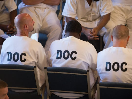 Inmates at the Sussex Correctional Institution.