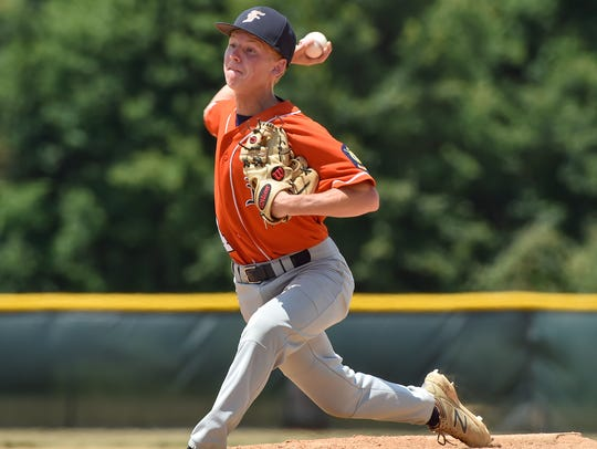 Fayetteville's Chance McClure pitches during the Region