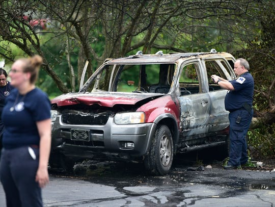 A man was injured after his vehicle exploded and caught