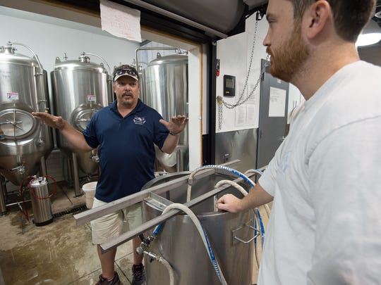 Jeff Hamer, left, owner and Andrew Harton, brewmaster at Big Oyster Brewery in Rehoboth.