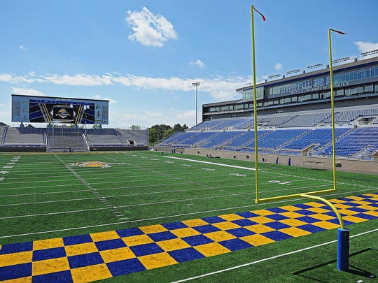 South Dakota State University's Dana J. Dykhouse Stadium Monday, Aug. 15, 2016, on the SDSU campus in Brookings, S.D.