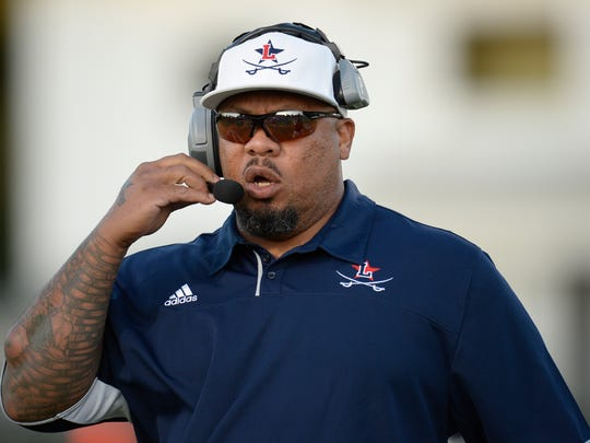 Lafayette head coach Eric Shaw during theTrinity football game against Lafayette in Lexington, KY on Friday, September 3, 2016.