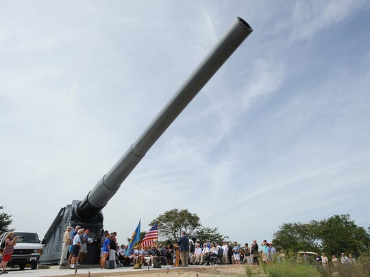 "A dedication ceremony for the opening of the ""Mighty Mo"" 16 inch gun display from the Battleship Missouri was held at the Fort Miles Museum World War II Artillery Park located in Cape Henlopen State Park near Lewes on Friday, Sept. 2, 2016."