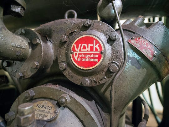 A vintage 'York refrigeration air conditioning' compressor that was used until about 2000 to cool part of the building at the Protective Order (BPOE) Lodge of Elks 213 in York Wednesday September 7, 2016.