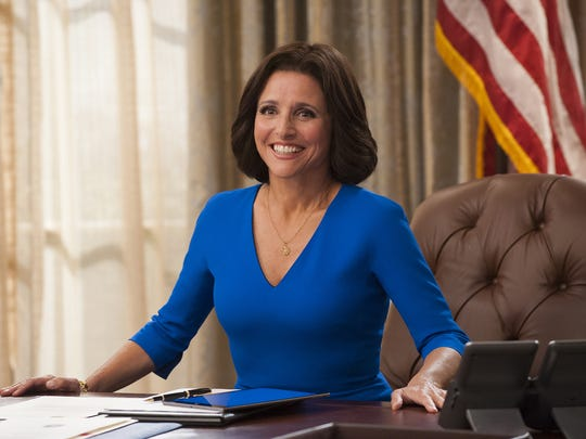 """In """"Veep,"""" Julia Louis-Dreyfus plays Selina Meyer, a U.S. vice president who becomes president. The show has won nine Emmy awards and is a critics' favorite to win outstanding comedy series this year."""