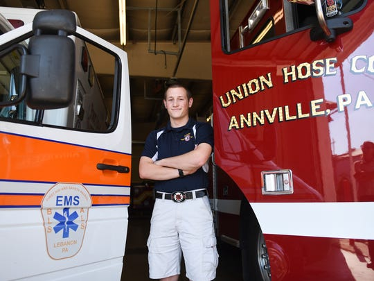Matt Zechman, 18, is a EMT with First Aid and Safety Patrol, a firefighter with the Cleona Fire District and their chaplain.