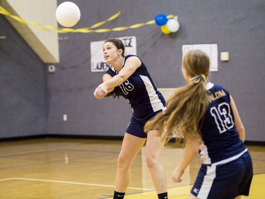 Shalom's Haley Bricker bumps the ball earlier this