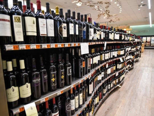Part of the extensive wine collection at Champagnes