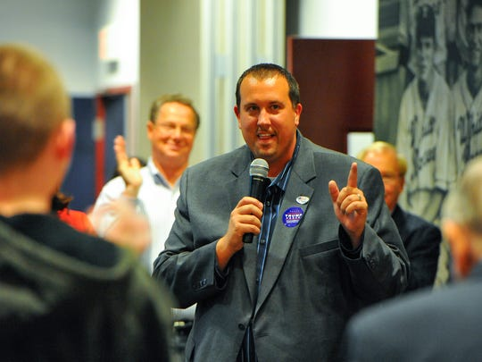 Rep. Seth Grove at the Republican Committee election watch in the White Rose Room at Peoples Bank Park, Tuesday, November 7, 2016. John A. Pavoncello photo