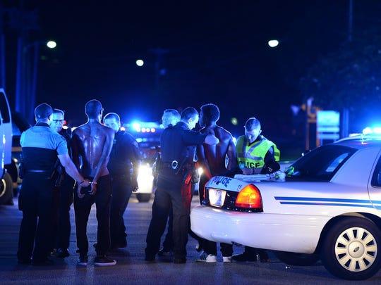 Police arrest several protesters at a Black Lives Matter
