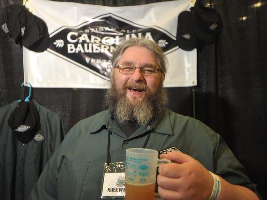 Keston Helfrich, owner of Carolina Bauernhaus Ales at the 2015 Winter Warmer.