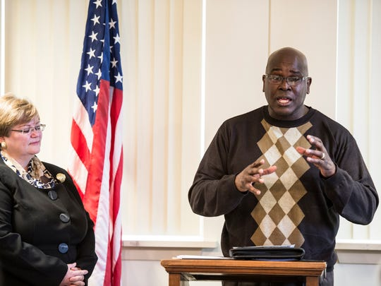 Ricky Bugg Sr. and Cathy Kumar speak during a press conference on Monday, Feb. 6, 2016. Bugg and Kumar announced a non-profit they have formed Dare 2 Care to Heal Racism Foundation.