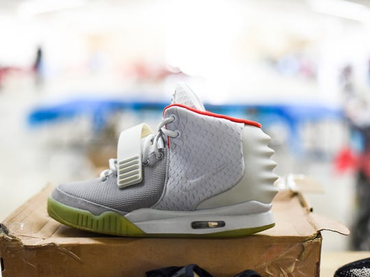 An Air Yeezy 2 NRG that was for sale for $2,600 as Sneakerheads of Pennsylvania held their first sneaker convention at the Lebanon Valley Expo Center on Sunday, Feb. 19, 2017.
