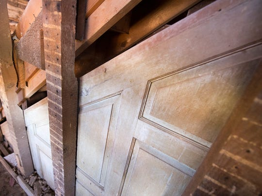A piece of finished, pinned, paneling shows the original rise of the first-floor staircase before the second floor was raised. The piece of paneling was hidden behind a lath and plaster wall from a later renovation. Bob Lehman speculates that since this was not available as a common construction material in the later part of the 1700s that the paneling might have come over from Switzerland with Landis.