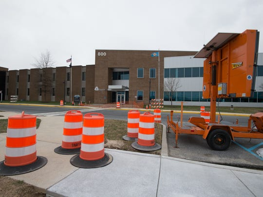 A mobile electronic sign warns visitors that the main entrance of DelDOT'S headquarters in Dover is closed during renovations.