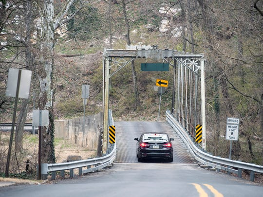 The Green Lane Farms Bridge straddles Cumberland County and York County's Fairview Township. The one-lane iron truss bridge built in 1889 has an 8-ton limit.
