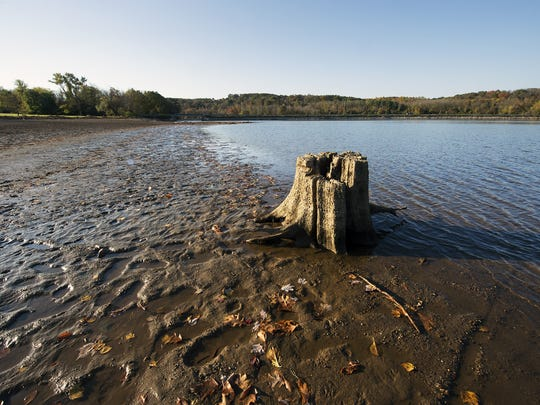 Low water levels in Lake Redman mean features usually covered by water like this stump, are fully visible. This photo was taken in October 2016. Boat rentals and the boat launch are closed until the water level is back to a normal level.