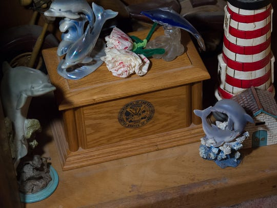 View of the urn that contained a portion of ashes of the late Ralph A. Kline at the home of his mother's home in Frederica.