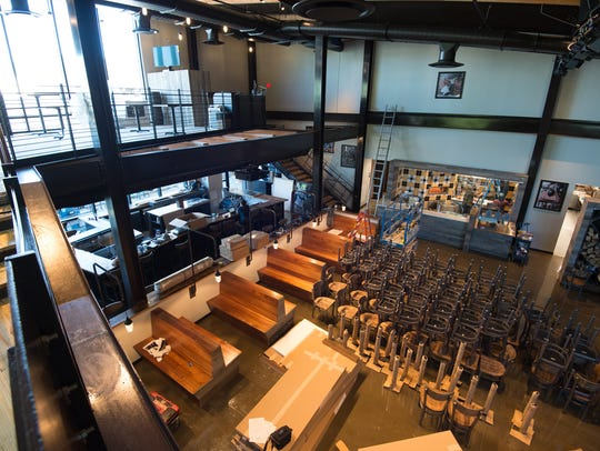 View of the interior of the new Dogfish Head brewpub
