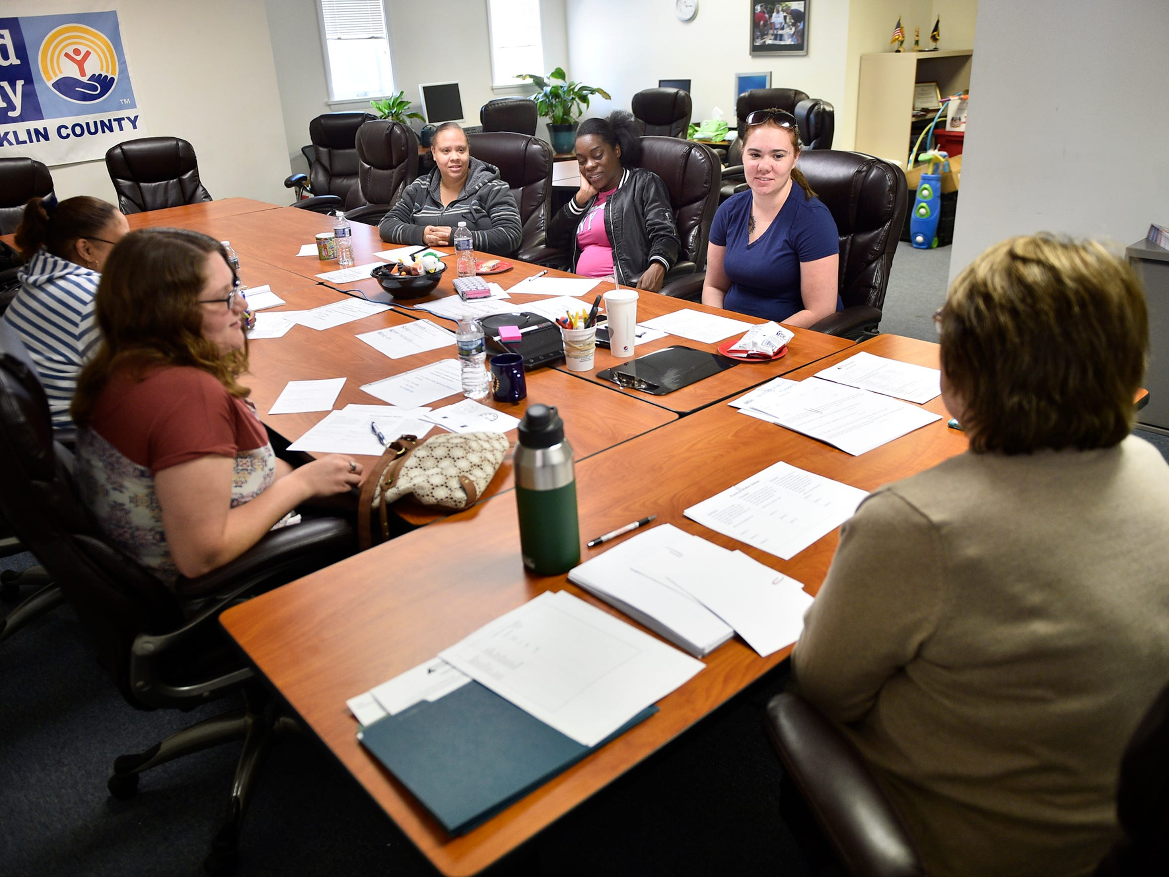 Cheri Kearney, right,  leads a class to help students prepare for an upcoming nursing class. The Franklin County United Way hosts the Stepping Forward Works class on Tuesday, May 16, 2017 at its Second Street offices.