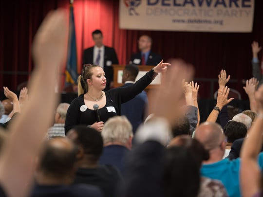Laura Wisniewski counts votes during the Democratic State Convention at Delaware Technical & Community College, Terry Campus in Dover.
