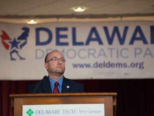 Erik Raser-Schramm is named Chairman of the Delaware Democratic Party during the Democratic State Convention at Delaware Technical & Community College, Terry Campus in Dover.