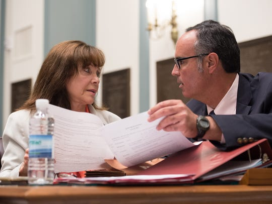 State Sens. Catherine Cloutier, R-Heatherbrooke, left, and Ernesto B. Lopez, R-Lewes talk during the second-to-last day of the 2017 legislative calendar.