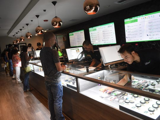 Opening day of legal recreational marijuana sales at Blum marijuana dispensary in Reno on July 1, 2017.