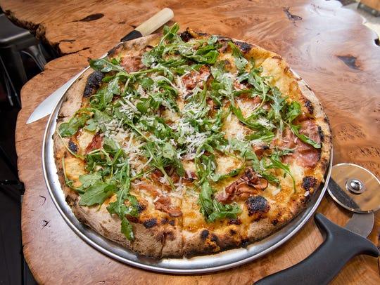 The fig-prosciutto-arugula pizza at A Tavola Pizza.