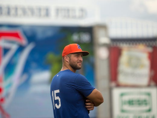 buy online 2387d 3ed31 Tim Tebow writing his own baseball script in the minors with ...