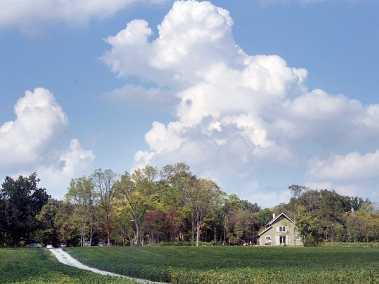 A gravel road crosses soybean fields that lead to Mark Boyers' home on 42 acres in Tyrone Township, Adams County. Boyer originally envisioned a barn-like structure for family gatherings, but the plans evolved into a eclectic home.
