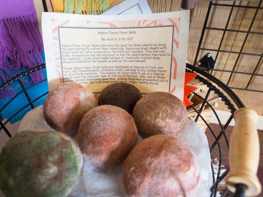 Dryer balls made of Alpaca fibers were displayed at
