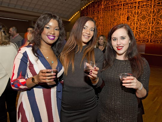 The Bacchanalian Society Fall gathering took place in the Ballroom at the Cincinnati Music Hall on Thursday, November 30, 2017 to benefit the Aruna Project. Khyara Harris of Over-the-Rhine, Erica Rutledge of Covington and Jill Richmond of Oakley.