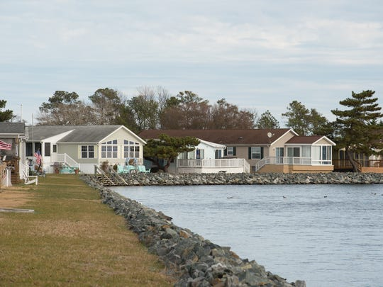 View of the rebuilt bulkhead at Rehoboth Bay mobile home community.