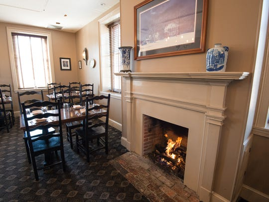 View of the one of the six fire places at Cantwell's Tavern in Odessa, formerly The Brick Hotel, which dates back to 1822.