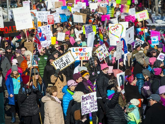 Participants fill Washington Drive during the 2017 Women's March on Montana in Helena.