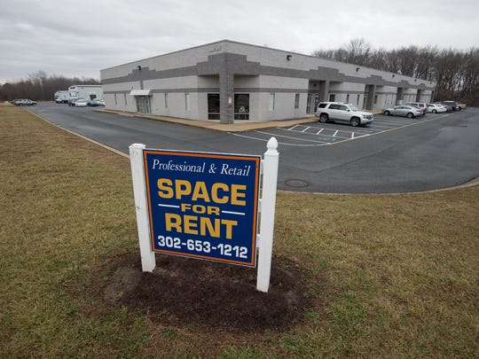 Space for rent sign at the Greater Milford Business Park in Milford.