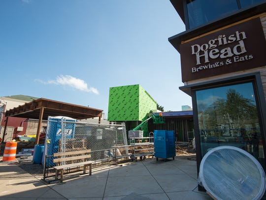 View of the final stage of construction at Dogfish Head Brewings & Eats in Rehoboth Beach.