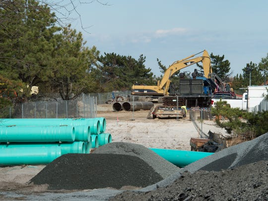 Rehoboth Beach outfall work was being completed near Deauville Beach in early 2018.
